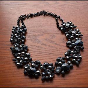 Beautiful Black Jewel Statement Necklace
